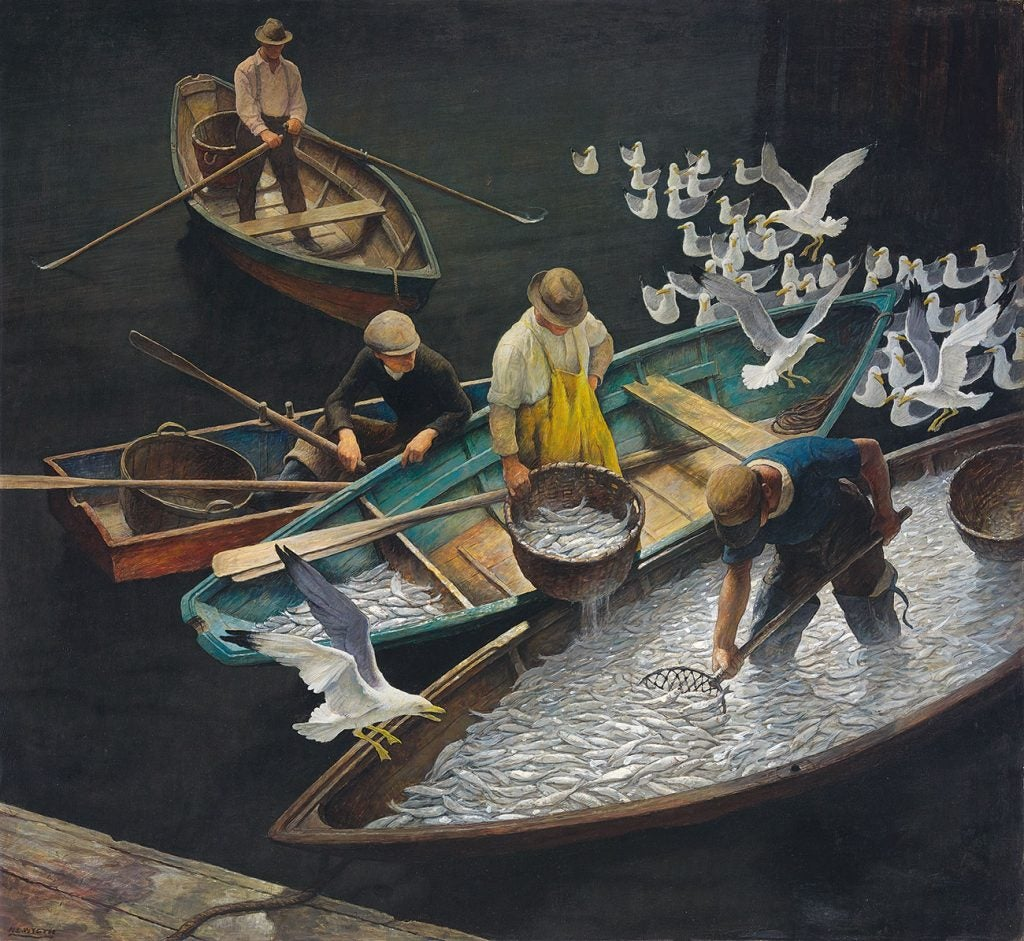N.C. Wyeth's 1943 painting, Dark Harbor Fishermen