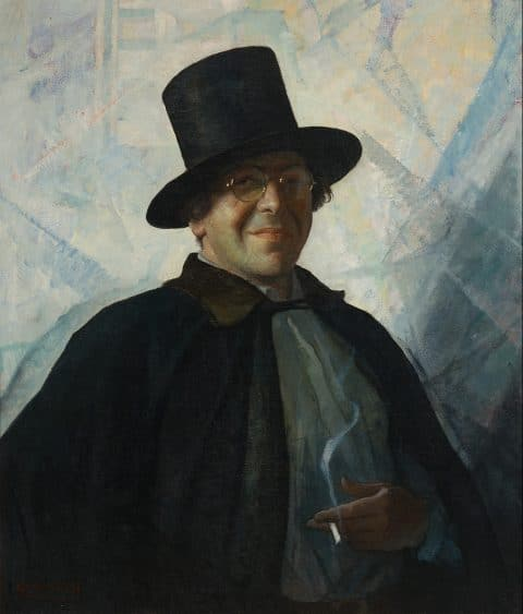 N.C. Wyeth's Self-Portrait in top hat and cape
