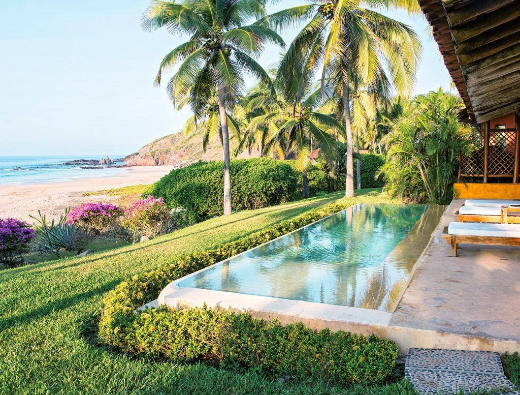 A pool at Mexican resort Las Alamandas, photographed by Tim Street-Porter.