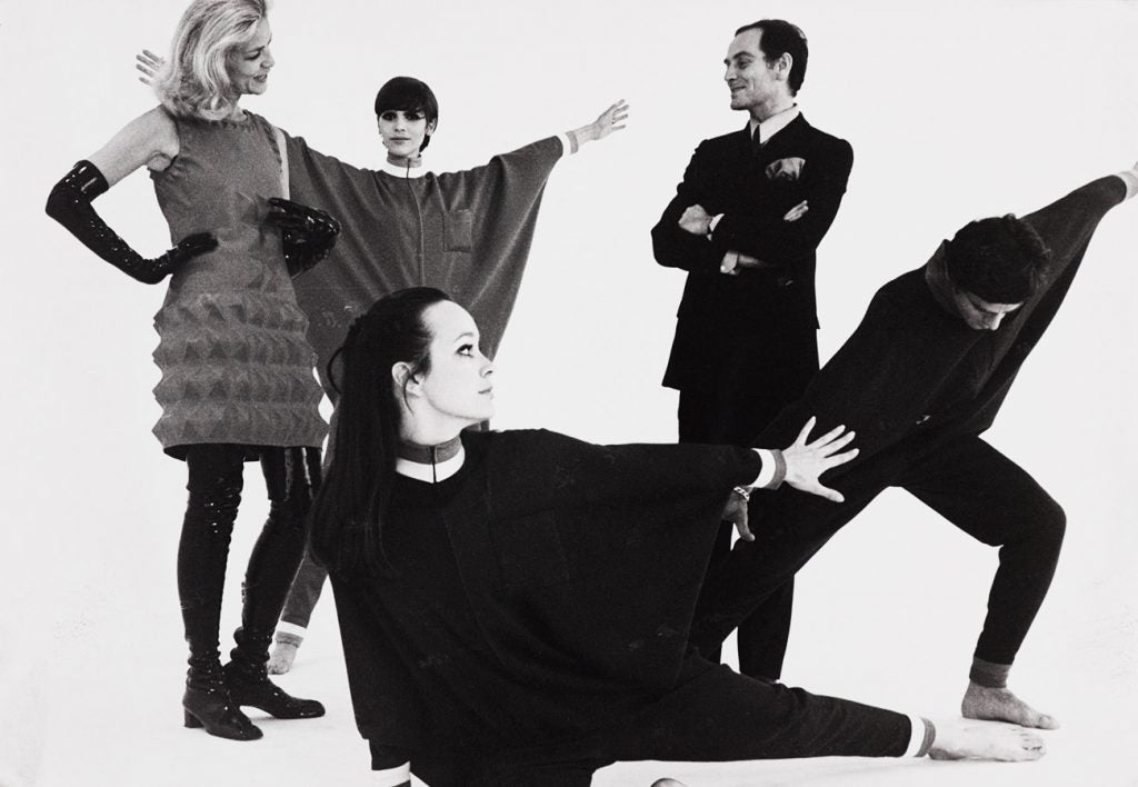 Lauren Bacall and Pierre Cardin with models in 1968