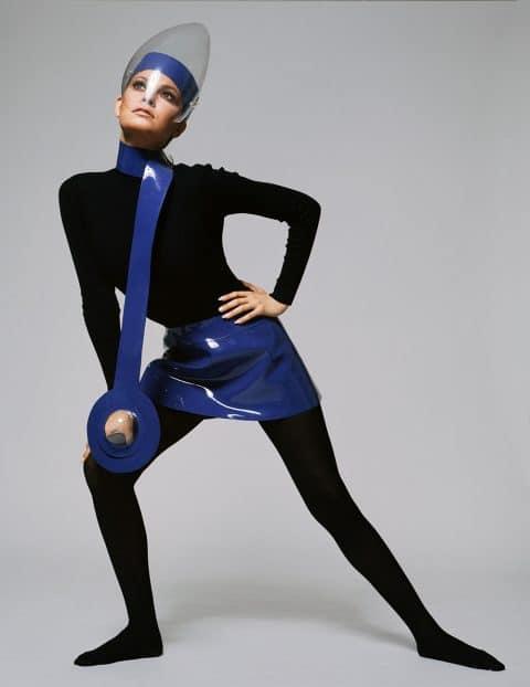 Raquel Welch in a futuristic Plexiglas visor, designed by Cardin, in 1970